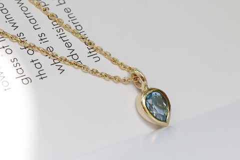 Tear Drop Blue Topaz Necklace, London Blue Topaz Pendant, Gold Blue Topaz Necklace, Gold Topaz Pendant, Mothers day gift, Topaz Pendant. - My Boho Jewelry