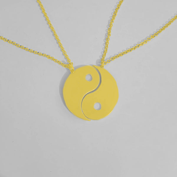 gold yin yang necklace 2 parts friendship necklace best friend necklace yin and yang necklace gold plated yoga necklace taoism necklace - My Boho Jewelry