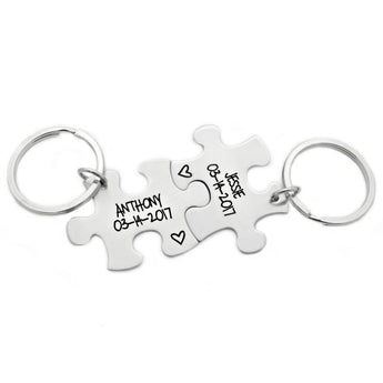 Personalized Name and Date Puzzle Piece Set- 2 Puzzle Pieces - Engraved Puzzle Piece Key chain Set of 2 - Couple Puzzle Piece Set - 1076 - My Boho Jewelry