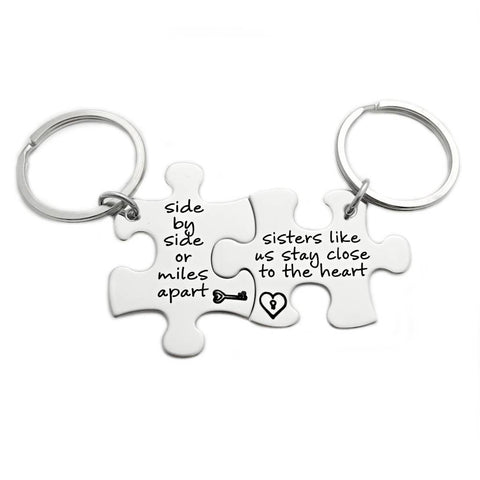 Side By Side Or Miles Apart, Sisters Like Us Stay Close To The Heart Puzzle Piece Key Chain Set of 2 - Engraved Stainless Steel - 1081 - My Boho Jewelry