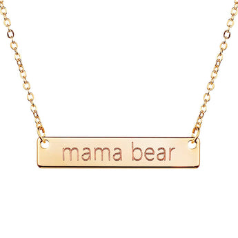 Mama Bear Necklace Gold Rose Gold,bar necklace gold, sterling necklace, bear necklace, kids - My Boho Jewelry