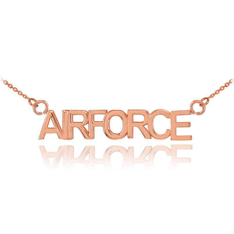 18K Rose Gold AIRFORCE Necklace  ,name necklace, gold necklace, artisan necklace, lips - My Boho Jewelry