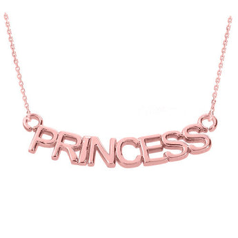 "18K Rose Gold ""PRINCESS"" Pendant  ,gold bar necklace, long necklace, pantone Rose quartz, Rose - My Boho Jewelry"