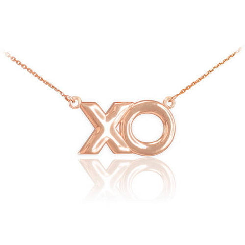 "18K Rose Gold ""XO"" Hugs Kisses Necklace,nameplate necklace, macrame necklace, 18k gold filled, gold vermeil - My Boho Jewelry"