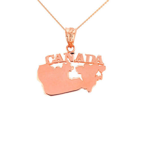 Solid Rose Gold Canada Pendant  ,gold necklace, Rose gold, plain necklace, lips Rose - My Boho Jewelry