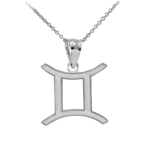 Sterling Silver Gemini Necklace Zodiac Sign Pendant Gemini Necklace Silver - My Boho Jewelry