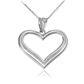 Sterling Silver Polished Open Heart Pendant Necklace ,dainty silver chain, black silver jewelry, 24inch necklace, wine lover - My Boho Jewelry