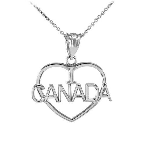 Silver Open Heart Shaped I Love CANADA Pendant,world map necklace, necklace kingdom, wedding gift, niece - My Boho Jewelry