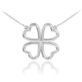 Silver Four-Leaf Heart Clover Necklace   ,birthday gift, gift for husband, gift for couple, christmas tea - My Boho Jewelry