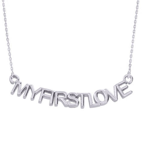 "Sterling Silver ""MYFIRSTLOVE"" Pendant Necklace   ,circle necklace, simple silver, mom christmas gift, christmas gift - My Boho Jewelry"