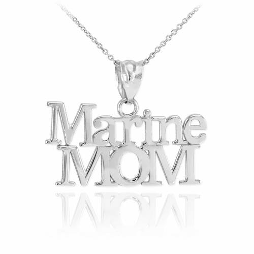 Sterling Silver Marine Mom Pendant Necklace  ,tiny necklace, infinity necklace, long silver pendant, men - My Boho Jewelry