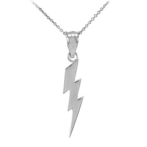 Sterling Silver Thunderbolt Charm Pendant Necklace  ,silver heart, silver leaf charm, sister gift idea, holiday gift - My Boho Jewelry