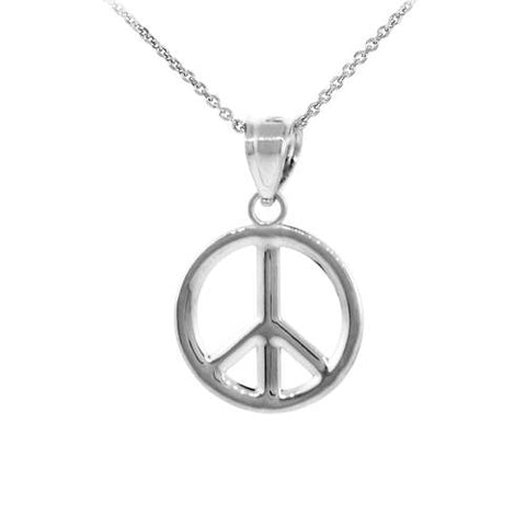 925 Sterling Silver Peace Symbol Pendant Necklace (M),summer necklace, silver opal, tiny silver disk, birthday - My Boho Jewelry