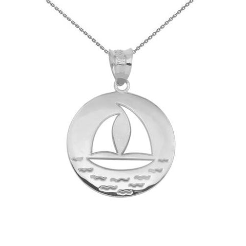 Nautical Necklace Sailboat Silhouette Necklace Nautical Jewelry - My Boho Jewelry
