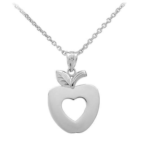 Sterling Silver Apple Heart Pendant Necklace  ,silver heart, silver leaf charm, sister gift idea, holiday gift - My Boho Jewelry