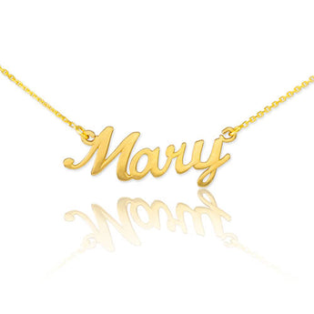 Gold Plated Name Script Necklace Mary Name Necklace Any Name Necklace Name Pendant Cursive Name Necklace - My Boho Jewelry