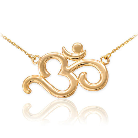 18K Polished Gold Plated Om Necklace, simple necklace, earth necklace, flat chain necklaces, merry christmas - My Boho Jewelry