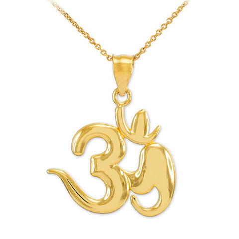 Gold Om Symbol Pendant Necklace, gold plated choker, allah necklace, christmas pajamas, christmas party - My Boho Jewelry