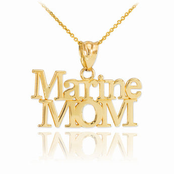 Gold Marine Mom Pendant Necklace, black onyx necklaces, necklace gift, green necklace, kids christmas pjs - My Boho Jewelry