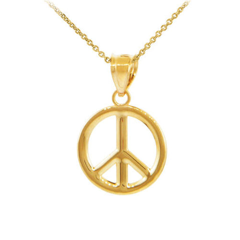 Gold Peace Symbol Pendant Necklace (M), monogram christmas, shabby christmas, christmas wall art, christmas boots - My Boho Jewelry