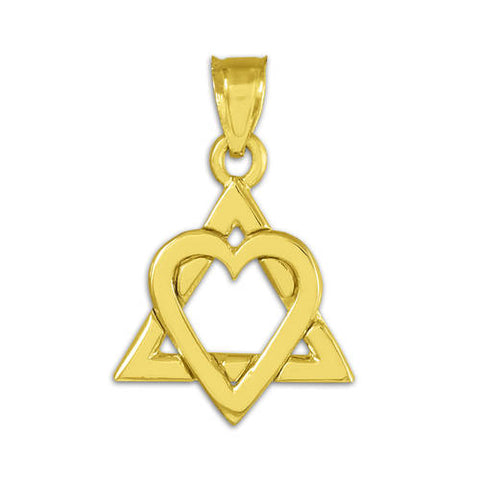 "Yellow Gold Star of David Heart Charm Pendant (0.9""), islamic necklace, christmas decoration, christmas sock, christmas photo card - My Boho Jewelry"