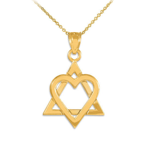 "Yellow Gold Star of David Heart Medium Pendant (1.1""), everyday necklace, unique necklace, strand necklace, christmas truck - My Boho Jewelry"