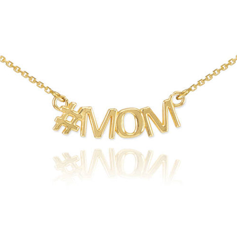 14k Gold MOM Necklace Mom Name Necklace New Mom Necklace Mother Necklace Gift For Mom - My Boho Jewelry
