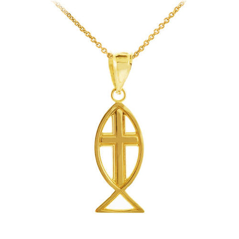 Yellow Gold Ichthus Necklace 14k Gold Jesus Fish Necklace Vertical Jesus Fish Necklace Fish Cross Necklace Ichthus Pendant - My Boho Jewelry