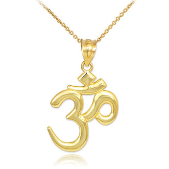 Solid Gold Om/Ohm Pendant Necklace, gold necklace chain, photo christmas card, christmas ornaments, christmas cards - My Boho Jewelry