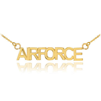14K Gold AIRFORCE Necklace, everyday necklace, plate gold 750, classic necklace, christmas sleepwear - My Boho Jewelry