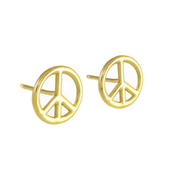 Peace Symbol Gold Post Earrings, brass earrings, sage earrings, 14k gold earrings, neutral christmas - My Boho Jewelry