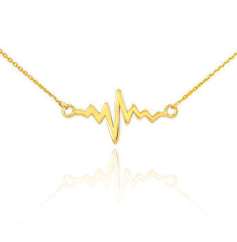 14K Gold Heartbeat Necklace Gold Heart Beat Necklace EKG Necklace Gift for Doctor EMT Medical Gift - My Boho Jewelry