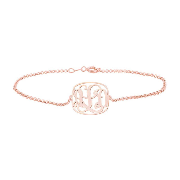Square Frame Monogram Bracelet in 18K Rose Gold Plated - My Boho Jewelry