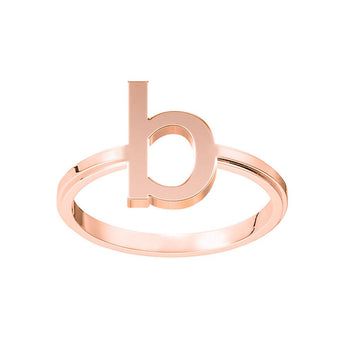 Rose Gold B Initial Ring B Ring Stackable Ring B Name Ring Block 1 Letter Monogram Ring Rose Gold Initial Ring - My Boho Jewelry