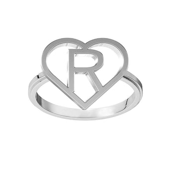 Heart Frame Block Initial Ring 925 Sterling Silver Monogram Ring Mono Gram Ring Customized Ring Personalized Christmas Gift For Her - My Boho Jewelry