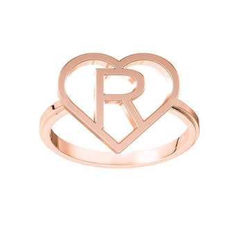 Heart Frame Block Initial Ring in 18K Rose Gold Plating - My Boho Jewelry