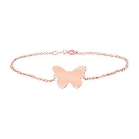 Butterfly Engravable Bracelet in 18K Rose Gold Plated - My Boho Jewelry
