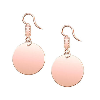 Circle Dangle Engravable Earrings in 18K Rose Gold Plating - My Boho Jewelry