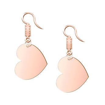 Heart Dangle Engravable Earrings in 18K Rose Gold Plating - My Boho Jewelry
