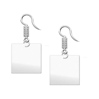 Square Dangle Engravable Earrings  Cool Earrings Unique Earrings - My Boho Jewelry