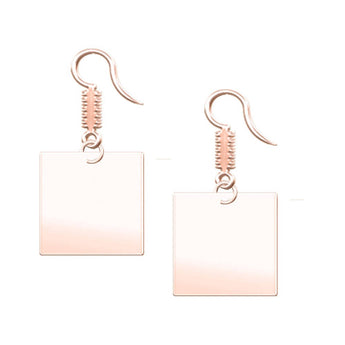 Square Dangle Engravable Earrings in 18K Rose Gold Plating - My Boho Jewelry