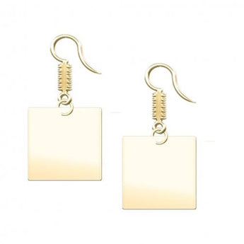 Square Dangle Engravable Earrings in 18K Gold Plating - My Boho Jewelry