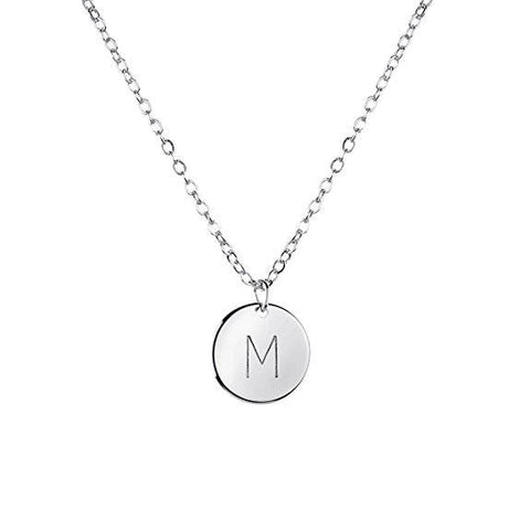 Silver Initial Necklace Initial Disc Necklace Mothers Day Gift Bridesmaid Jewelry Gift for Her - My Boho Jewelry