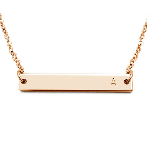 18K Rose gold Initial Necklace Mothers,silver minimalistic, sterling bar pendant, name necklace, mothers - My Boho Jewelry