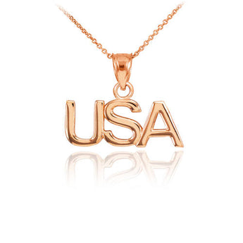 Rose Gold USA Pendant Necklace  ,your name necklace, rosegold, pantone Rose quartz, stylish - My Boho Jewelry