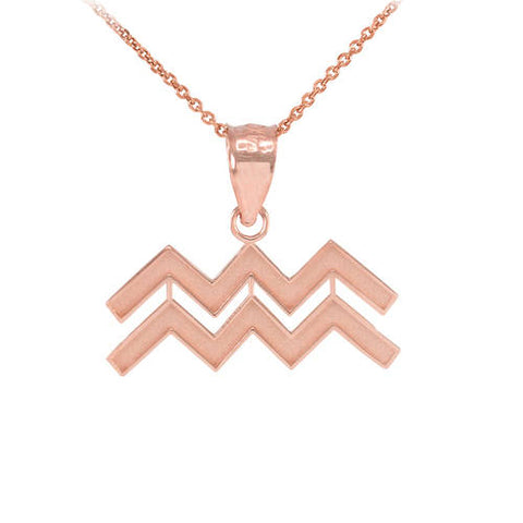 Rose Gold Aquarius Zodiac Sign Necklace ,name necklace, initial necklace, rose gold, Rose gold - My Boho Jewelry