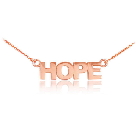 "18k Solid Rose Gold ""HOPE"" Necklace ,nameplate necklace, gold, silver necklace, bridal - My Boho Jewelry"