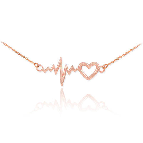 Heartbeat Necklace - 18K Rose  ,your name necklace, gold, macrame necklace, rose - My Boho Jewelry