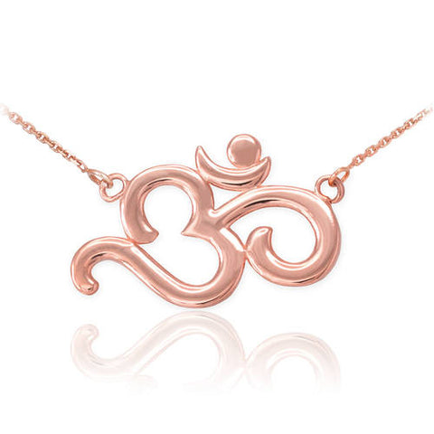 18K Polished Rose Gold Om  ,silver necklace, gold chain, plain necklace, cluster - My Boho Jewelry