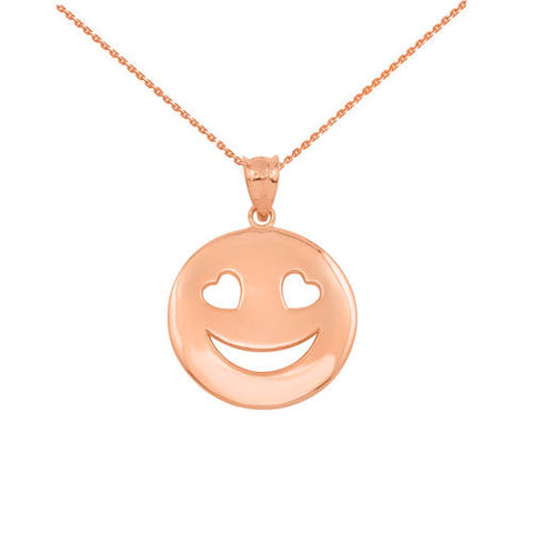 Rose Gold Heart Eyes Smiley Pendant Necklace,Rose gold plated, minimalist necklace, rose quartz necklace, Rose - My Boho Jewelry